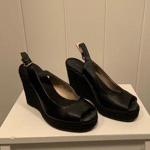 Wedge ankle strap heel